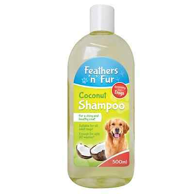 2 x  Feathers 'n' Fur PET DOG  COCONUT SHAMPOO 500ML SUITABLE FOR ALL DOGS OTL