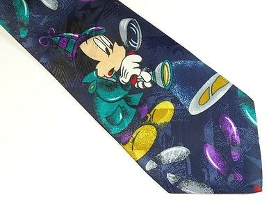 Mickey Mouse Tie Disney Detective Magnifying Glass Footprints Necktie