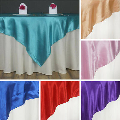 "20 SATIN SQUARE 60x60"" Table OVERLAYS Wholesale Wedding Party Toppers Supplies"