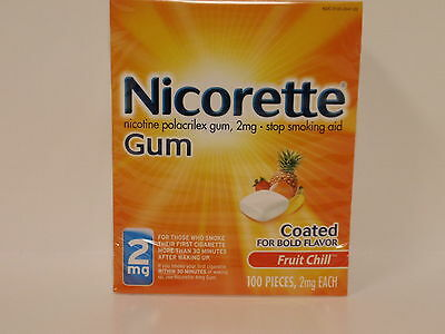 Nicorette Gum 2 mg Fruit Chill - Stop Smoking - 100 pieces - NEW STOCK!