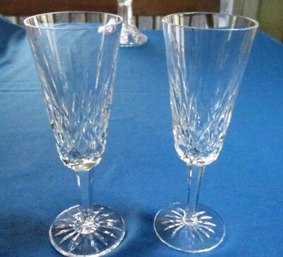"""Pair Waterford Lismore Champagne Flutes 7 1/4""""h, Price/pair, Excellent Cond."""