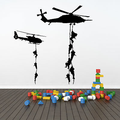 Abseiling Soldiers Helicopter Army Navy Air Force Marine Wall Decal Sticker Art