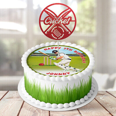 Cricket PERSONALISED EDIBLE Icing Cake Wrapper Glitter Toppers Round