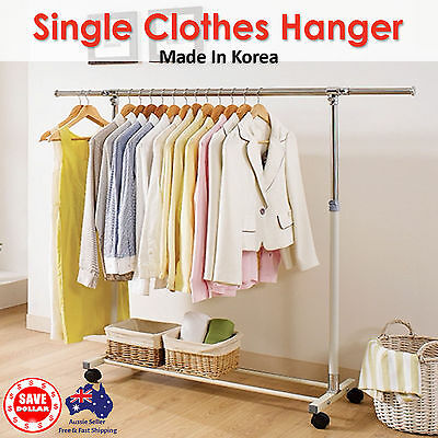 Portable Stainless Steel Single Clothes Garment Rack Hanger Organizer Heavy Duty