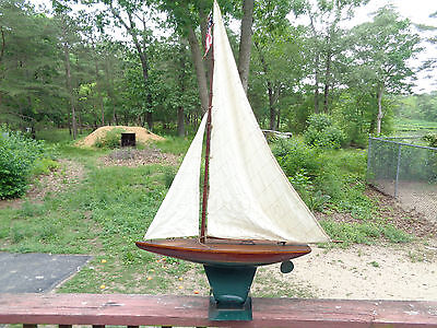"Antique Wooden Model Sailboat Pond Boat w/stand 24"" long x 40"" high"