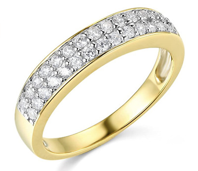 2.25 Ct Round Cut Real 14k Yellow Gold Engagement Wedding Anniversary Band Ring