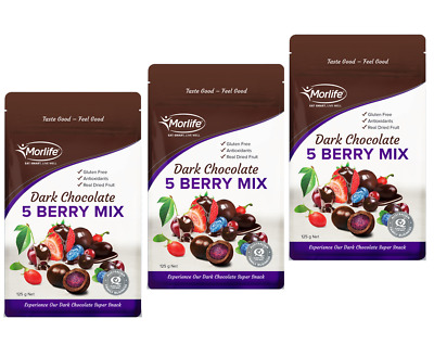 Morlife Chocolate Five Berry Mix 125gm x 3 | chocolate | berry mix | gluten free