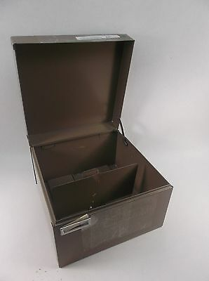 "Metal Index Card File Box 5-1/2"" x 8-1/2"" w/ Dividers"