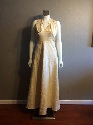 Vintage 60's 70s Mexican Wedding Dress Boho Crochet Gown Maxi Size S
