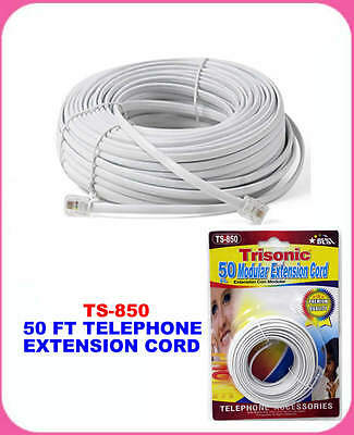 50' Ft Telephone Extension Cord White Phone Cable Wire Line With Connectors