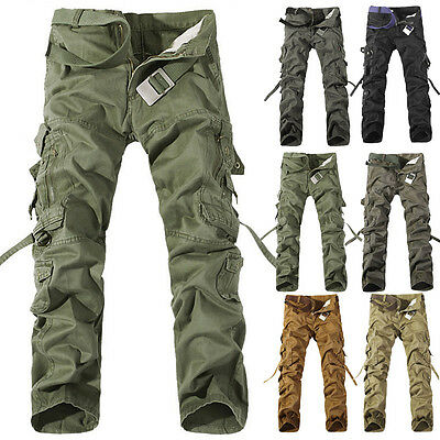 Combat Men's Casual Cotton Cargo ARMY Pants Military Camouflage Camo Trousers