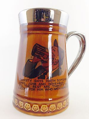 """Lord Nelson Pottery England Ceramic/Lustre Tankard/Beer Mug """"Thirsty Days"""""""