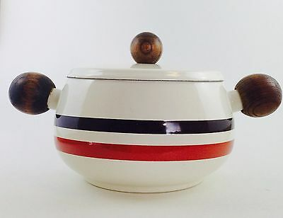 Vintage Mid Century Enamel Pot With Wooden Ball Handles