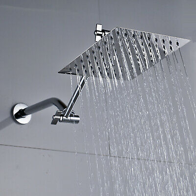 8-inch Stainless Steel Square Rainfall Shower Head with Extension Arm Chrome Top