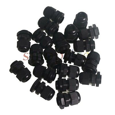 20pcs Waterproof Cable Range PG9 4-8mm Black Cable Gland Connector