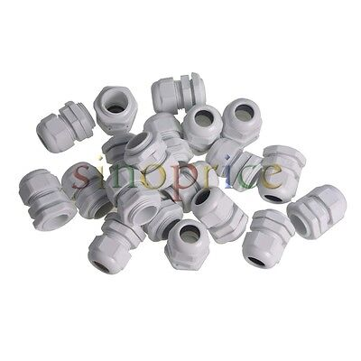 20x Waterproof PG16 White Plastic Glands Connectors for 10-14mm Cable
