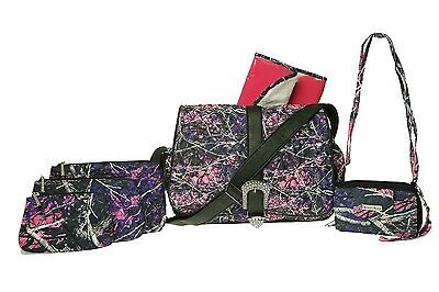 Muddy Girl Pink Purple Camo Quilted Nappy Bag Crossbody Purse 3 Piece Cosmetic B