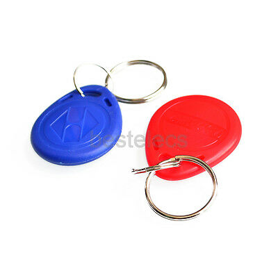10pcs EM4100 Readable RFID 125Khz Tags ID Key Card Red Blue