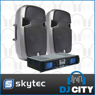 Skytec SPJ1500 15-Inch PA Speaker Package with SPL 1000 watt Amplifier USB, S...