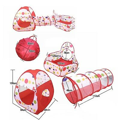 Play House Baby Kids Play Tent New 3 In 1 Indoor Outdoor Toys Children Tunnel