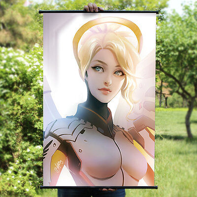 Overwatch Mercy Sexy Home Decor Poster Wall OW Scroll Painting 60*90cm B