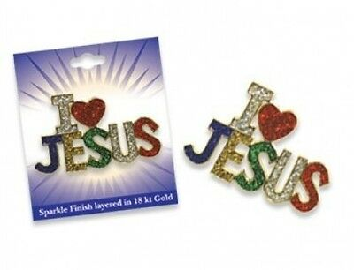 Sparkling Glittery I LOVE JESUS Pin Brooch. Shipping is Free
