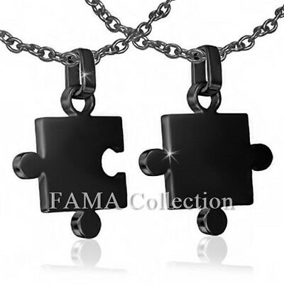 FAMA Stainless Steel Black Puzzle Jigsaw Couples Pendant + Steel Chain Necklace