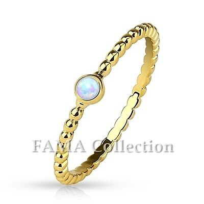 Gorgeous FAMA Opal Set 14Kt Gold Plated Braided Brass Stackable Ring Size 5-8