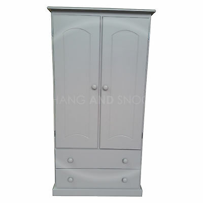 Hand Made Kiddies Furniture 2 Drawer Wardrobe Grey (Assembled)