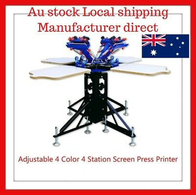 Micro Adjustable 4 Color 4 Station Carousel Screen Printing Press Machine