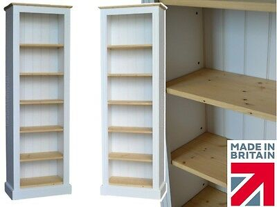 Traditional White Painted & Wood Bookcase,6ft x 2ft  Adjustable Display Shelving