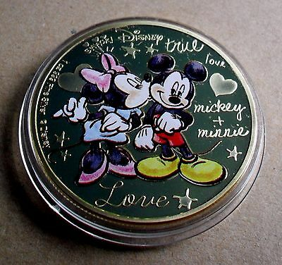 NEW ZEALAND 2015 1oz 999 FINE GOLD PLATE MICKEY & MINNIE IN LOVE + CAPSULE