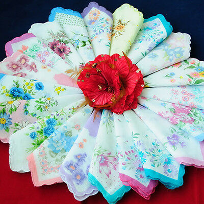 Wedding Party Handkerchiefs Hankies Vintage Women Quadrate Floral Cotton 35pcs
