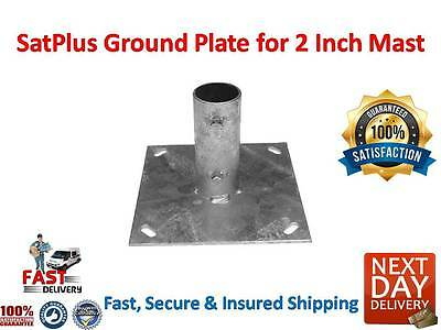 SatPlus Ground Mount for 2 inch Mast (Larger Base) Fast Free Delivery