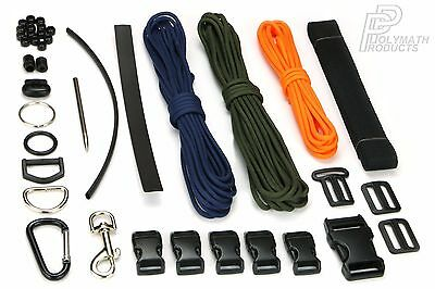 ADAPT AND SURVIVE Custom Paracord & Webbing Kit 550 Cord Needle Buckles Bracelet