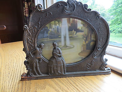 1920's SCENE IN ACTION CORP MOTION LAMP MAN AND WOMAN PLUS FOUNTAIN  CAST IRON