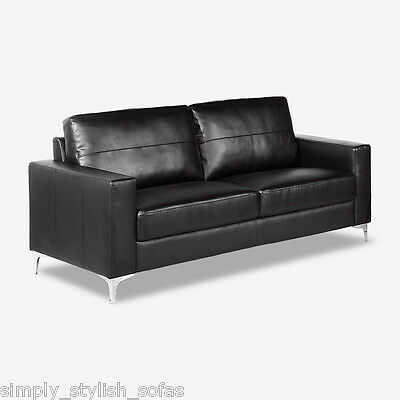 LINEA Italian Inspired Black Leather Sofas Modern 3 or 2 Seater or Armchairs