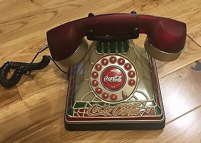 Coca Cola Light-Up Stained Glass Design Push Button Corded Phone Collectible
