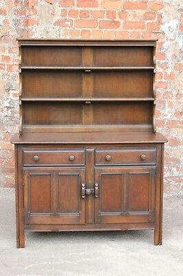 Vintage Dark Oak Effect Elm Ercol Kitchen Dresser - Dining Room Storage Cabinet