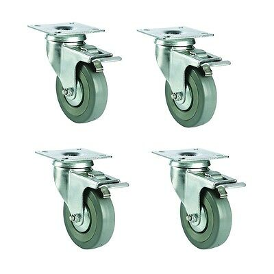 "Set of 4 Pcs 125mm /5"" Industrial Heavy Duty Swivel Hard Rubber Caster Wheels"