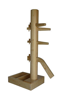 wing chun wooden dummy with open base natural color