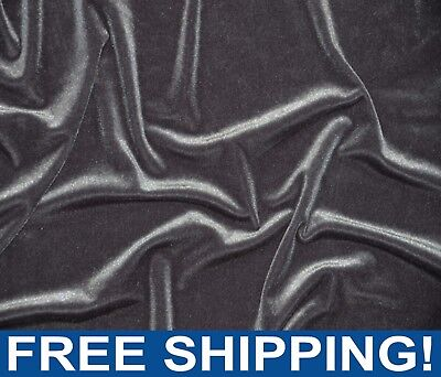 """Charcoal Gray Stretch Velvet Fabric - 60"""" Wide - Style# 72402 - Free Shipping"""