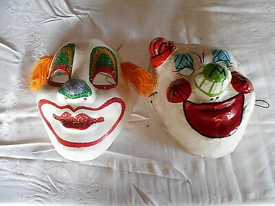 (2) Vintage Clown Mask Art Decor Collectible (1) signed Montiel, Mexico