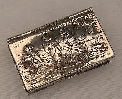 VIOLINIST+COUPLE DANCING Antique Pill Box HEAVY 800 Sterling Silver GERMANY L004