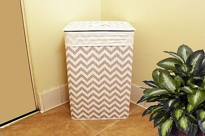 Rectangle Bamboo Laundry Basket Hamper With Linen Cloth White ZigZag