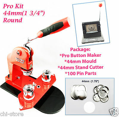 """(KIT)Round 44mm(1 3/4"""") New Pro Button Maker-S1+Mould+Stand Cutter+100PinParts"""