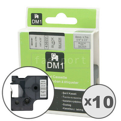 """10pk Black on Silver Tape Label Compatible for DYMO 43622 D1 6mm 1/4"""""""