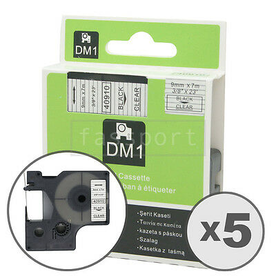 5pk Black on Clear Tape Label Compatible for DYMO 40910 D1 9mm 3/8""