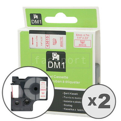"""2pk Red on White Tape Label Compatible for DYMO 43615 D1 6mm 1/4"""""""
