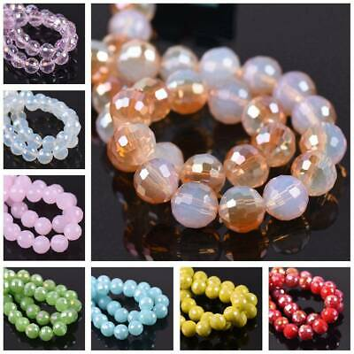 Round Faceted Crystal Glass 96Facets Loose Spacer Beads 8mm/10mm/12mm Lot Colors